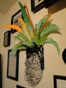 carnival wire mask with paper feathers headpiece