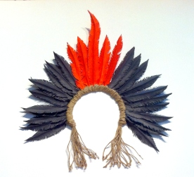 Native Brazilian inspired head piece made with paper feathers