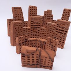 Clay buildings made with remote control rubbers